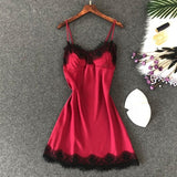 Lingerie Silk Nightgown Summer Night Dress lace wine red / XL
