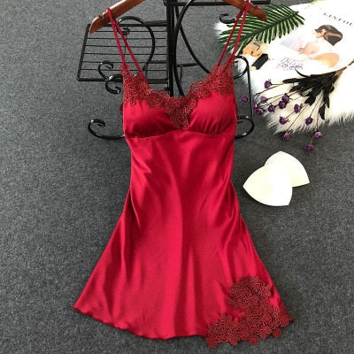 Lingerie Silk Nightgown Summer Night Dress wine red floral / XL