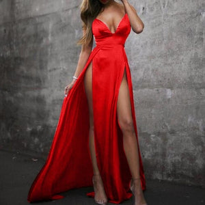High split solid evening long sleeveless party dress Red / L