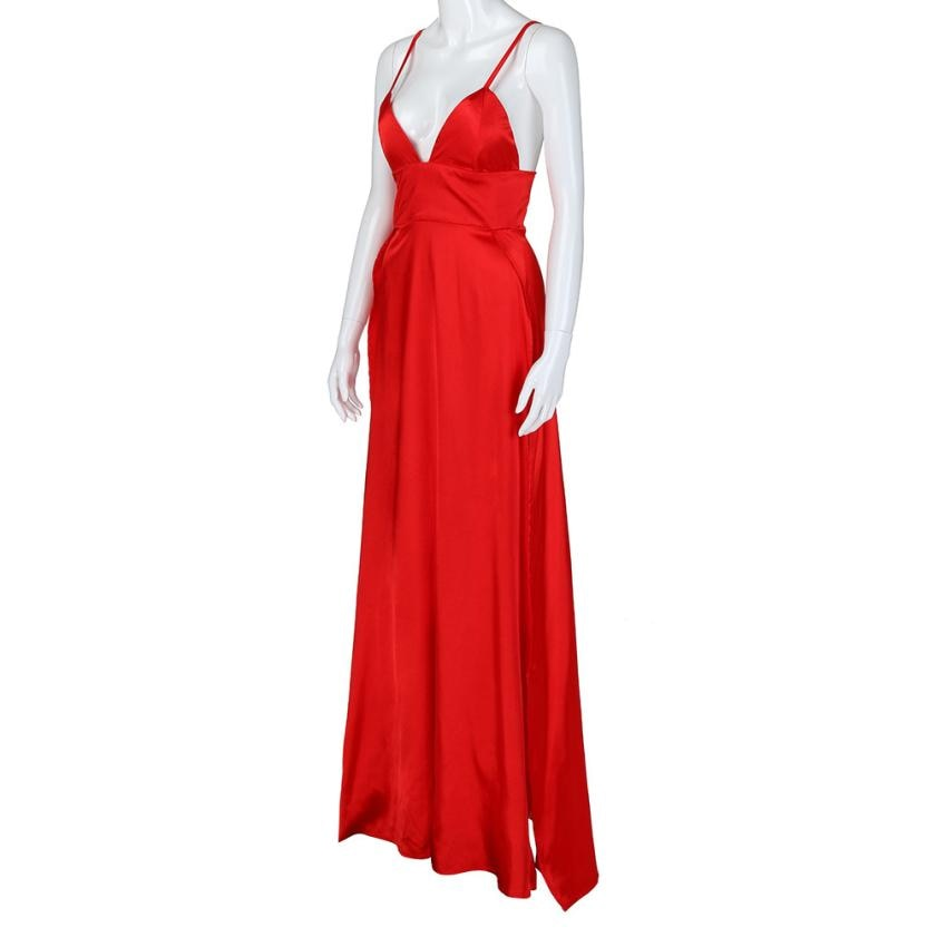 High split solid evening long sleeveless party dress