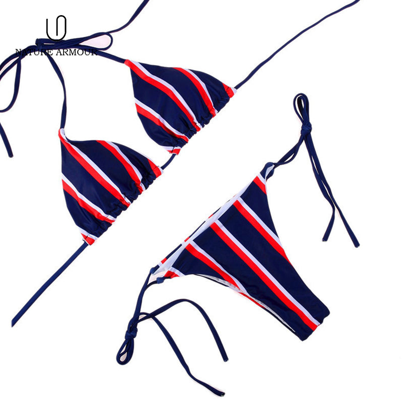 NAUTRE ARMOUR Stripe Bikini Set