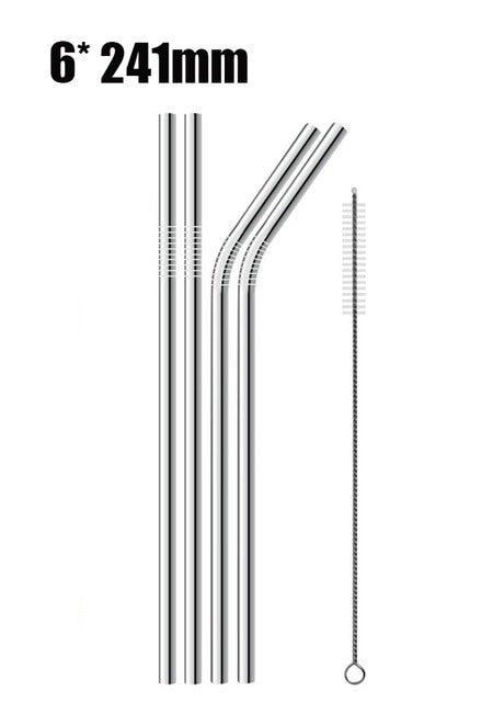 6pcs Reusable Stainless Steel Drinking Straws D