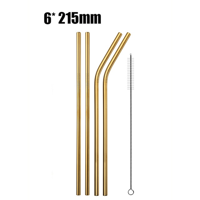 6pcs Reusable Stainless Steel Drinking Straws gold