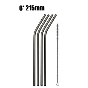 6pcs Reusable Stainless Steel Drinking Straws