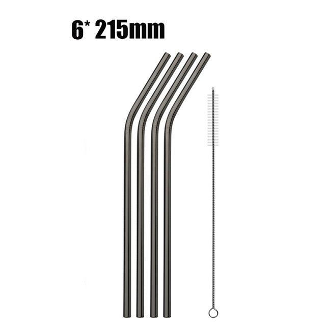 6pcs Reusable Stainless Steel Drinking Straws black B