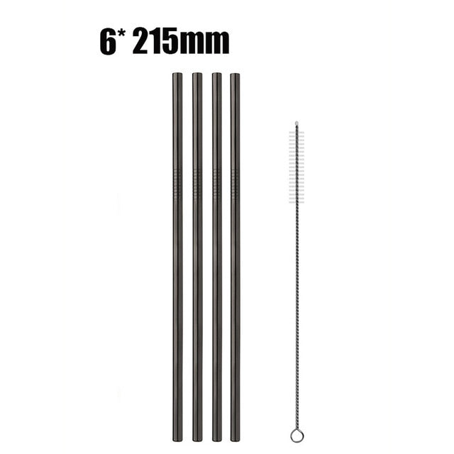 6pcs Reusable Stainless Steel Drinking Straws black C