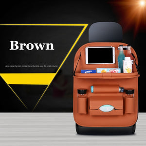 High Quality PU Leather Car Seat Back Organizer Brown
