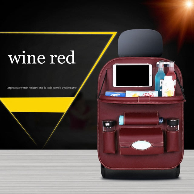 High Quality PU Leather Car Seat Back Organizer wine red