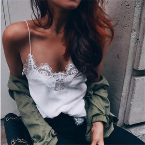 Sexy Camisole Lace V-neck Top White / S