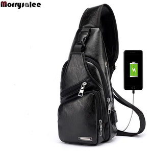 Cross-Chest Bag with USB Charging Socket Black / 16x34x10cm