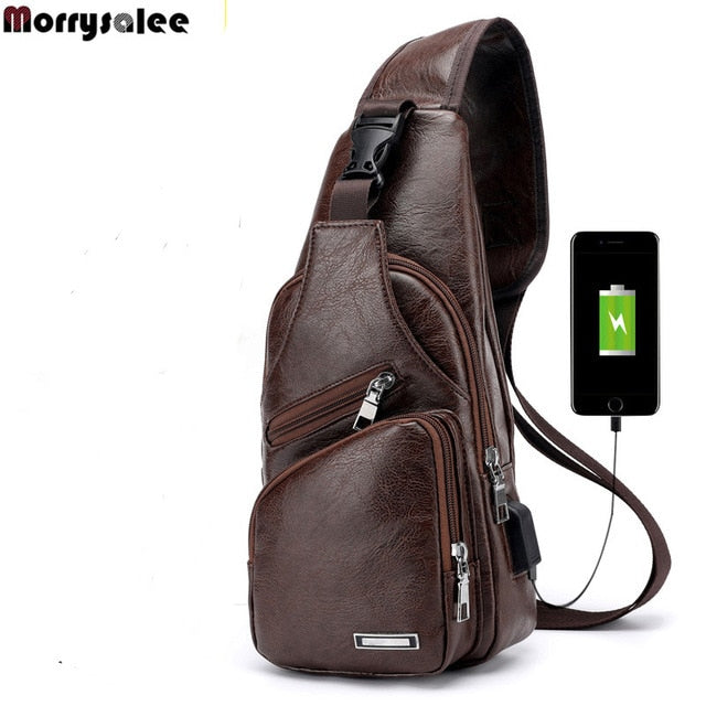 Cross-Chest Bag with USB Charging Socket Brown / 16x34x10cm