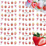 Strawberry Summer Water Transfer Nail Art