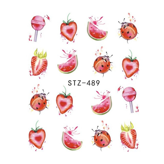 Strawberry Summer Water Transfer Nail Art STZ489