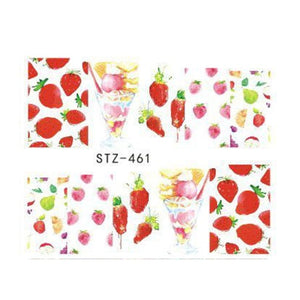 Strawberry Summer Water Transfer Nail Art STZ461