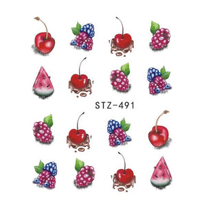Strawberry Summer Water Transfer Nail Art STZ491