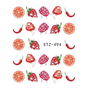 Strawberry Summer Water Transfer Nail Art STZ494