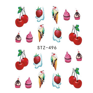 Strawberry Summer Water Transfer Nail Art STZ496