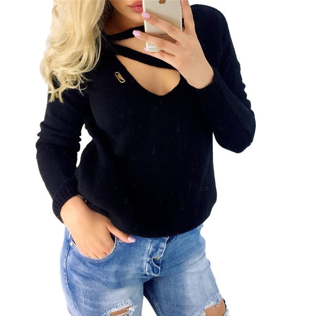 Winter Long Sleeve V Neck Loose Sexy Top Black / S