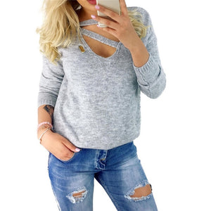 Winter Long Sleeve V Neck Loose Sexy Top Gray / S