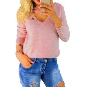 Winter Long Sleeve V Neck Loose Sexy Top Pink / S