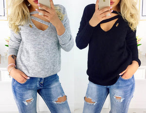 Winter Long Sleeve V Neck Loose Sexy Top