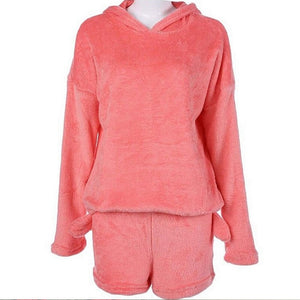 Long Sleeve Hoodie+Shorts Tow Piece Set Pajamas