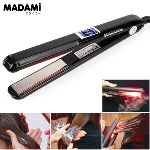 Madami LCD Display Ultrasonic Infrared Hair Straightener Iron