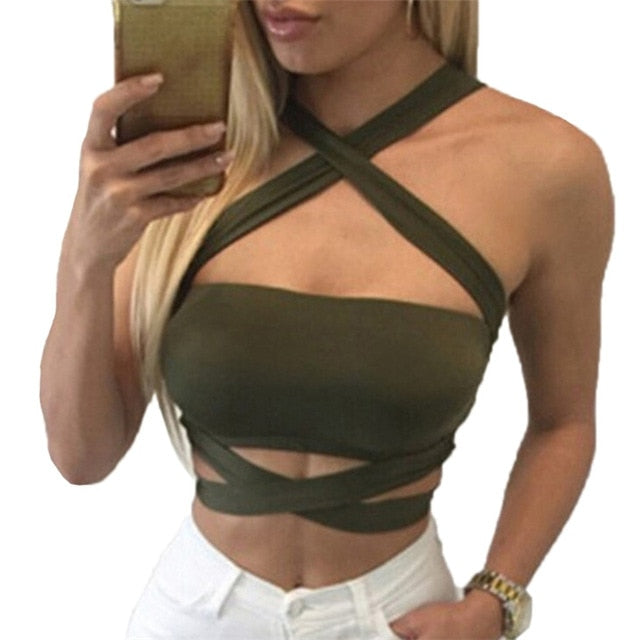 Criss Cross Halter Bandage Crop Top Green / XXL