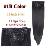 Clip In Hair Extensions Straight Synthetic 1B / 22inches