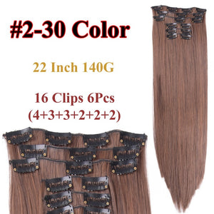 Clip In Hair Extensions Straight Synthetic 2-30 / 22inches