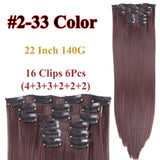 Clip In Hair Extensions Straight Synthetic 2-33 / 22inches