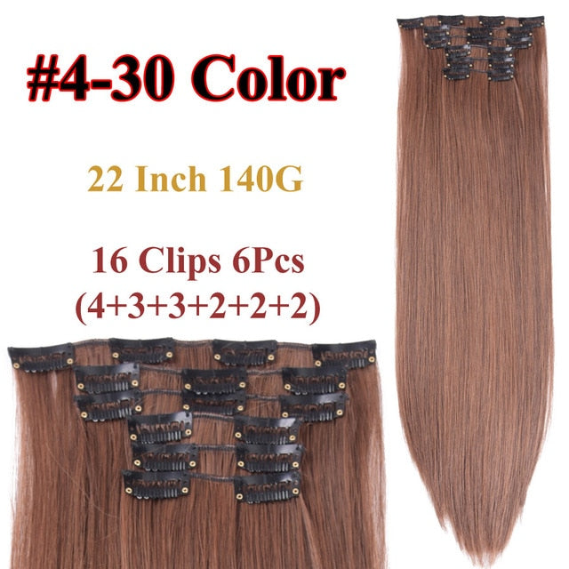 Clip In Hair Extensions Straight Synthetic 4-30 / 22inches