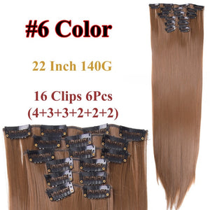 Clip In Hair Extensions Straight Synthetic 6 / 22inches