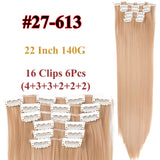 Clip In Hair Extensions Straight Synthetic 27-613 / 22inches
