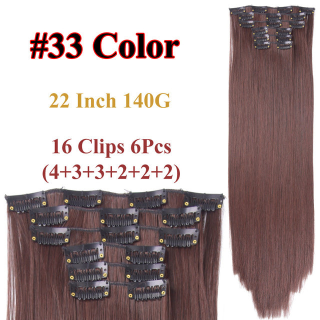 Clip In Hair Extensions Straight Synthetic 33 / 22inches
