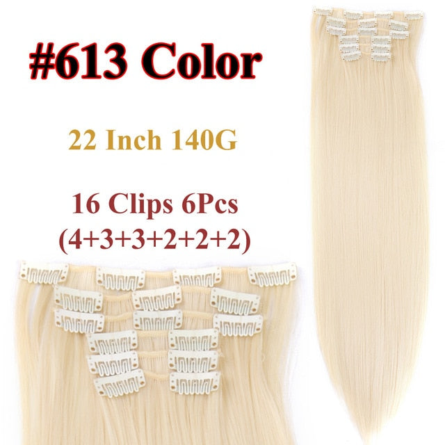 Clip In Hair Extensions Straight Synthetic 613 / 22inches