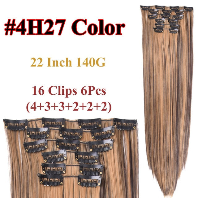 Clip In Hair Extensions Straight Synthetic 4H27 / 22inches