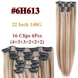 Clip In Hair Extensions Straight Synthetic 6H613 / 22inches