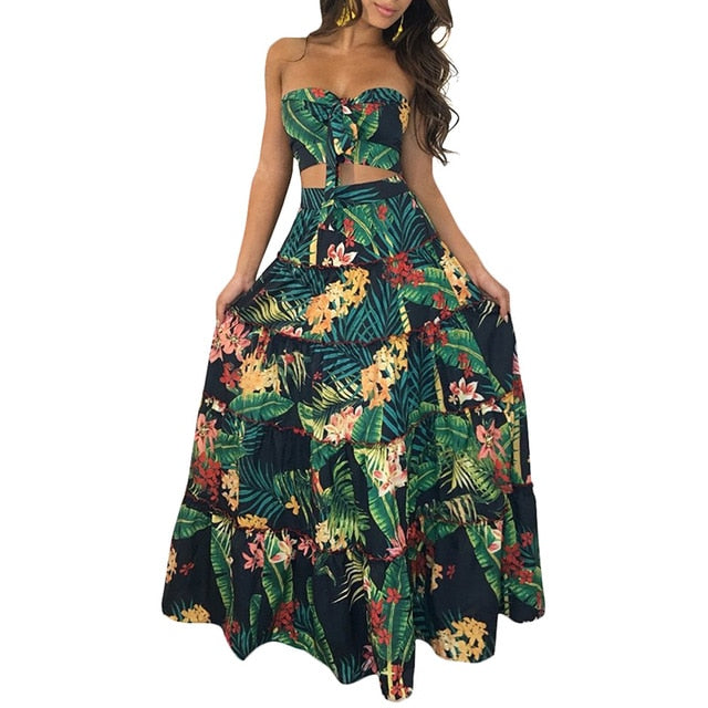 Boho Two Piece Floral Printed Crop Top Long Skirt set Green / XXL