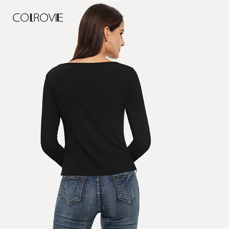 Black Cut Out V-Neck Elegant Long Sleeve T-Shirt