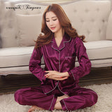 Women Satin Pajama Sets Long Sleeve Sleepwear sleepwear Foxy Beauty