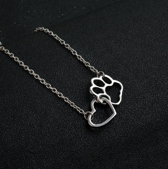 Pet Paw Footprint Bracelets silver necklace