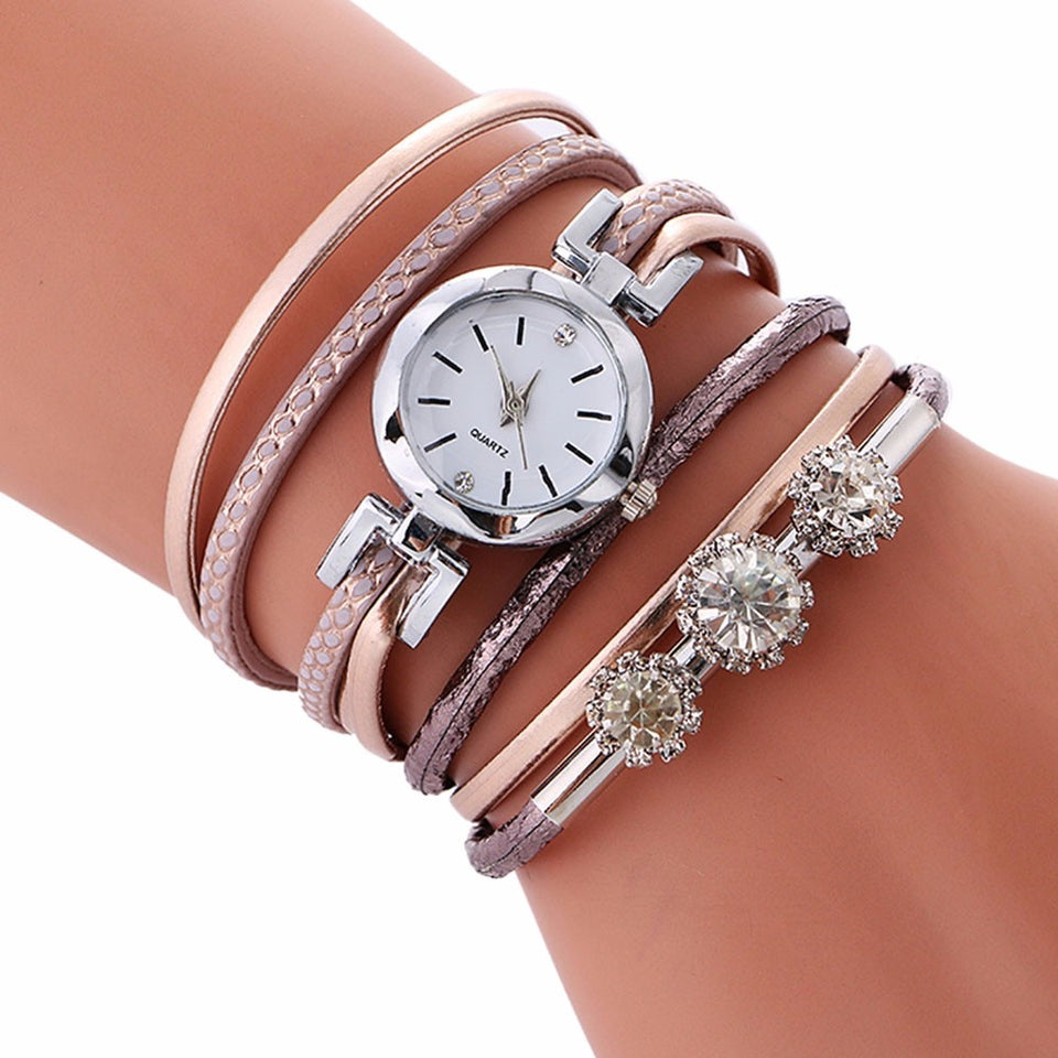Rhinestone Leather Bracelet Casual Wrist Watch