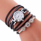 Rhinestone Leather Bracelet Casual Wrist Watch Black