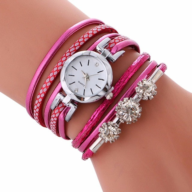 Rhinestone Leather Bracelet Casual Wrist Watch Hot Pink