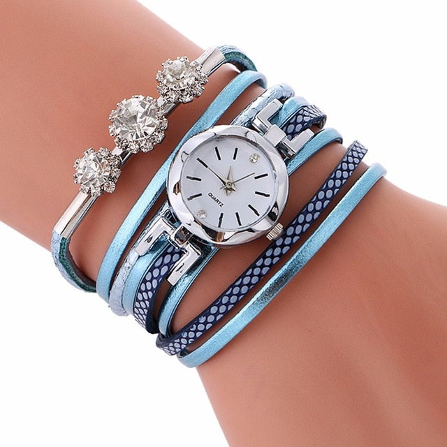 Rhinestone Leather Bracelet Casual Wrist Watch Light blue