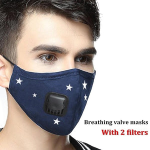 Military Grade Reusable Filter Mask mens blue with star