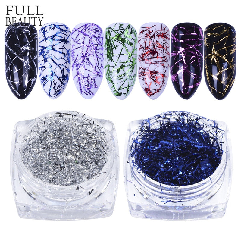 Colorful Platinum Silk Foils Nail Flake Glitter