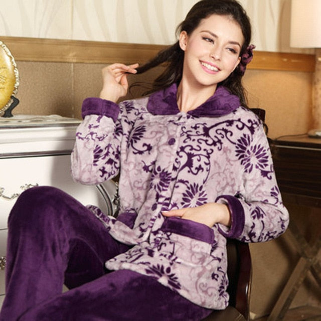 Thick flannel Winter Female Pajamas Color 2 / XL