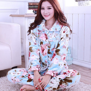 Thick flannel Winter Female Pajamas Color 6 / XL